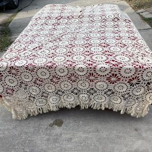 Vintage French Embroidered Cotton Crochet Coverlet